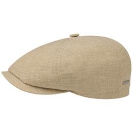 6-Panel Leinen-Seide Flatcap Schirmmütze Sommercap Sonnencap Sommermütze Herrencap Cap Kappe Stetson Schiebermütze Schirmmütze (58 cm - beige) -