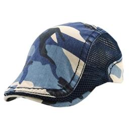 ACVIP Damen/Herren Retro Tarnung Baumwolle und Netz Schirmmütze Schiebermütze (Blau) -