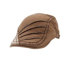 ACVIP Damen/Herrenhut Faltenwurf Baumwolle Flat Cap Barett Schirmmütze (Khaki) -