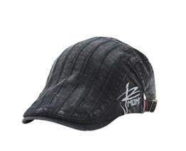 ACVIP Damen/Herrenhut mit Streifen Modisch Baumwolle Flat Cap Schiebermütze (Schwarz) -