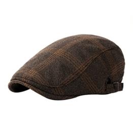 ACVIP Damen/Herrenhut mit Streifen Baumwolle Barett Schirmmütze Schiebermütze (Kaffeebraun) -