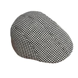 ACVIP Herrenhut mit Gitter Polyester Barett Schirmmütze Schiebermütze (Schwarze und Weiße Gitter) -