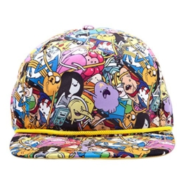 Adventure Time Snapback Cap Basecap All-Over Print mit Finn Jake BMO Eiskönig Prinzessin Bubblegum -