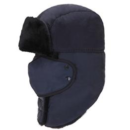 AJUSEN Unisex Winter-Trooper-Hut-Jagd-Hut Ushanka Ohr-Klappe-Kinn-Bügel und Windproof Mask (blau) -