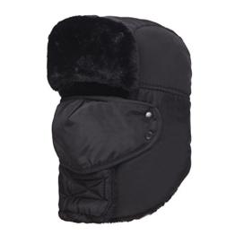 AJUSEN Unisex Winter-Trooper-Hut-Jagd-Hut Ushanka Ohr-Klappe-Kinn-Bügel und Windproof Mask (Schwarz) -