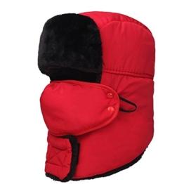 AJUSEN Unisex Winter-Trooper-Hut-Jagd-Hut Ushanka Ohr-Klappe-Kinn-Bügel und Windproof Mask (Scharlach) -