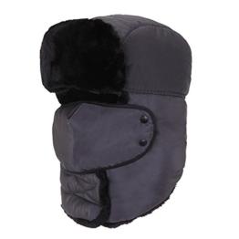 AJUSEN Unisex Winter-Trooper-Hut-Jagd-Hut Ushanka Ohr-Klappe-Kinn-Bügel und Windproof Mask (grau) -