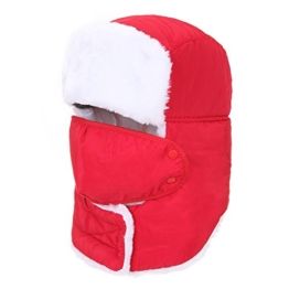 AJUSEN Unisex Winter-Trooper-Hut-Jagd-Hut Ushanka Ohr-Klappe-Kinn-Bügel und Windproof Mask (rot) -