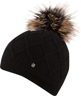 ALINA HAT leichte Strickmütze mit farbig abgesetzter Pom Pom undeinfarbig Strickmütze Mütze Wintermütze Bommelmütze , Pom Pom (schwarz) -