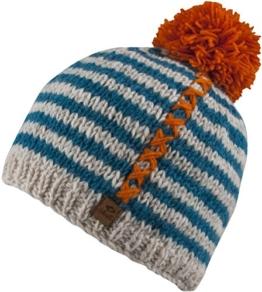 Allison-Strick Mütze mit Innenfleece Unisex Strickmütze mit trendigen Muster und Bommel-handmade in Nepal-100% Wolle (natural white / orange) -