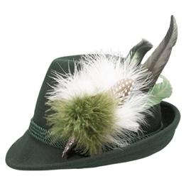 Alpenflüstern Damen Filzhut Trachtenhut grün mit Hutfeder Farbenfroh ADV07600M50 grün -