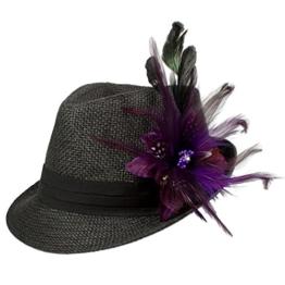 Alpenflüstern Damen Strohhut Trachtenhut schwarz mit Feder-Clip ADV03000070 lila -