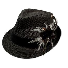 Alpenflüstern Damen Strohhut Trachtenhut schwarz mit Feder-Clip ADV03000000 schwarz -