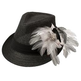 Alpenflüstern Damen Strohhut Trachtenhut schwarz mit Feder-Clip ADV03000010 weiß -