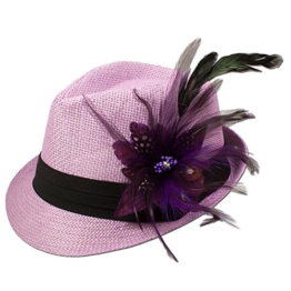 Alpenflüstern Damen Strohhut Trachtenhut rosa mit Feder-Clip ADV03100070 lila -