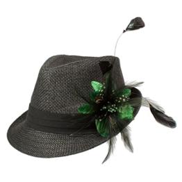 Alpenflüstern Damen Strohhut Trachtenhut schwarz mit Feder-Clip ADV03000050 grün -