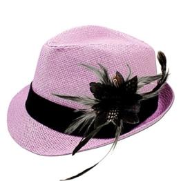 Alpenflüstern Damen Strohhut Trachtenhut rosa mit Feder-Clip ADV03100000 schwarz -