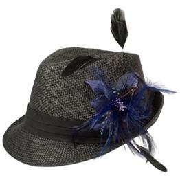 Alpenflüstern Damen Strohhut Trachtenhut schwarz mit Feder-Clip ADV03000060 blau -