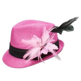 Alpenflüstern Damen Strohhut Trachtenhut pink mit Feder-Clip ADV04800029 rosé -