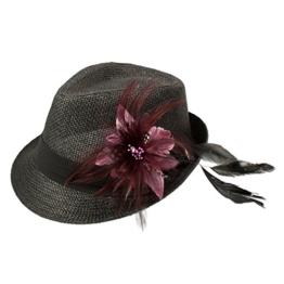Alpenflüstern Damen Strohhut Trachtenhut schwarz mit Feder-Clip ADV03000071 hell-lila -