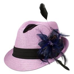 Alpenflüstern Damen Strohhut Trachtenhut rosa mit Feder-Clip ADV03100060 blau -