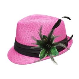 Alpenflüstern Damen Strohhut Trachtenhut pink mit Feder-Clip ADV04800050 grün -