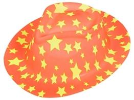 Alsino Trilby Fasching Melonen Hut Partyhut Fedora Trilbyhut Clownhut Melone bunt Karneval, wählen:P-16 Trilby orange Sterne -
