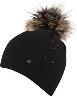 Amanda - HAT leichte Strickmütze mit farbig abgesetzter Pom Pom einfarbige Strickmütze Mütze Wintermütze Bommelmütze , Pom Pom (schwarz) -