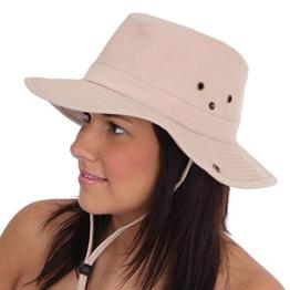 Australierhut Buschhut mit Kinnband und seitlichen Druckknöpfen Unisex (59 cm, beige) -
