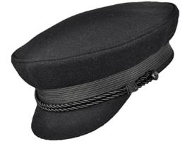 Balke Elbsegler Kapitänsmütze mit Kordel - schwarz (schwarz, 54) -