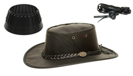 Barmah 1019 Sundowner Lederhut aus Australien - Känguruleder + Hutablage & Kinnriemchen | Schwarz / Black | Size XXL -