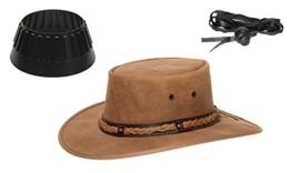 Barmah 1022 Squashy Bronco Cooper Crossing Lederhut aus Australien + Hutablage & Kinnriemchen | Beige / Hickory | Size XL -