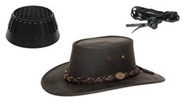 Barmah 1022 Squashy Bronco Two Tone Lederhut aus Australien + Hutablage & Kinnriemchen | Schwarz / Black | Size L -