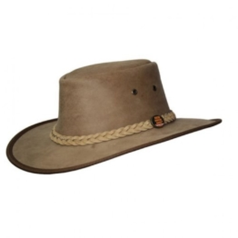 Barmah 1078 Red Rock Kangaroo Känguru Squashy Outback Leather Hat Hickory -
