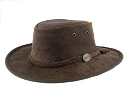 Barmah versenkbarer Aussie Bronco Leder Hat–leicht & Wasserdicht 1060, Braun, 1060 -