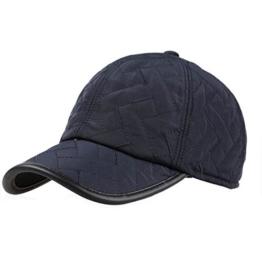 Baseballcap mit Ohrenklappen Wasserdicht Kappe Mütze Schirmmütze Ohrenschutz Basecap Wintercap Cap Wintermütze (Blau) -