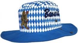 Bayrischer Hut Trachtenhut Bayernmuster Cowboy Oktoberfest blau, Größe:60 -