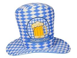 Bayrischer Oktoberfest Hut Partyhut in Bayrischem Flaggen Muster Blau Weiß -