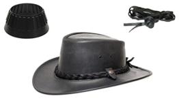 BC BacPac Traveller Hat - Australien Outback Edition - Black Steerhide - L (57-58) + Hutablage & Kinnriemchen -