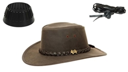BC Bushwalker Kangaroo Lederhut - Australien Outback Edition - Gr. XL (60-61) + Hutablage & Kinnriemchen -