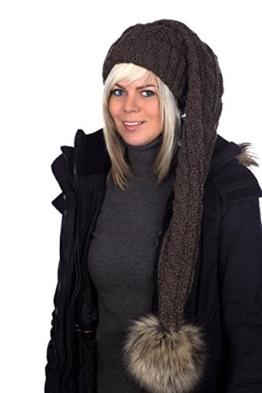 Beanie A 103 Mütze, Zipfelmütze, Pudelmütze, Wintermütze mit großer Fellbommel aus Fellimitat. Extra Lang mit weichem Fleece abgefüttert -