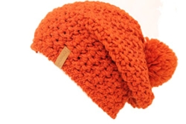 Beanie Alpaka Schurwolle Mischung mit Bommel Made in Germany lange Form (orange) -