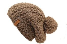 Beanie Alpaka Schurwolle Mischung mit Bommel und innen Fleece Made in Germany lange Form (taupe) -