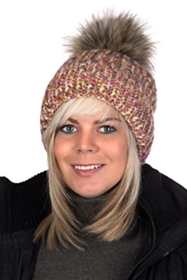 Beanie P Mütze mit Patentmuster gestrickt, Pudelmütze, Wintermütze mit großer Fellbommel aus Fellimitat (Bunt Meliert (129)) -