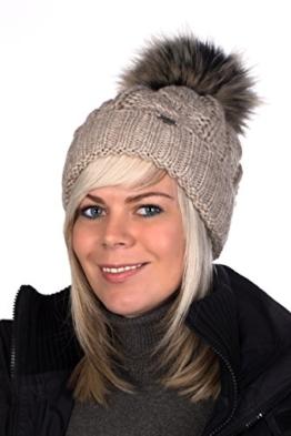 Beanie PB Mütze, Pudelmütze, Wintermütze mit großer Fellbommel aus Fellimitat, Strickmütze hochwertigen Strick (Beige meliert) -