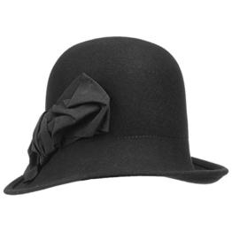 bedacht Wollfilzglocke Damenhut mit Schleife Damenhut Wollfilzhut (One Size - schwarz) -