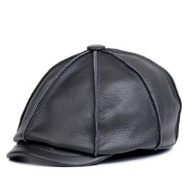Bellefur Herren 100% Echtleder Beanie Baskenmütze Herren Oktogonale Kappe Zeitungsjungen-Hut Schwarz XL -