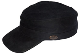 Black Jungle Army Cap Leder, Military Biker Kappe, One-Size, Schwarz -