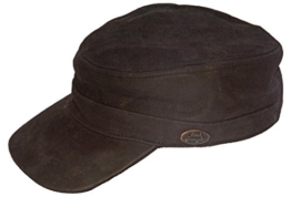 Black Jungle Field Cap Leder, Cuba Cap, Biker Kappe, One-Size, Braun -