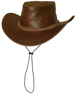 "Black Jungle - Lederhut Cowboyhut ""Broome"" Westernhut mit Kinnriemen -"